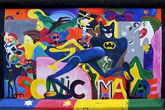 SONIC MALADE (Anthony Mark Images) Tags: painting art wallmural streetart berlin berlinermauer berlinwall formereastberlin eastsidegallery outdoorgallery germany deutschland europe cartooncharacters batman joker dccomics pterodactyl spider sovietunionflag nikon d850