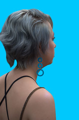 Aqua Blue Earrings (Scott 97006) Tags: lady female woman earrings blue shoulder graying cute