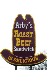 "ARBY'S ORIGINAL ""BIG HAT"" SIGN IN MANSFIELD, OHIO (fstopfinatic) Tags: pointandshoot panasoniczs70 signage food diner yesteryear old quaint roastbeef sandwich curlyfries arbys hat cowboy western big sign neon lighted mansfield ohio vintage landmark"