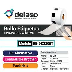 Pack 4 Rollo Dk1213 film transparente (Detaso) Tags: chile brother dk dk2205 dk1201 dk1208 dk1209 dk2210 dk2243 dk1202 etiqueta rotuladora etiquetas transparente