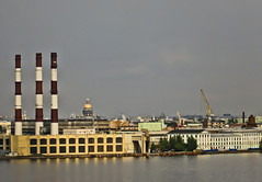 A0741RTSc (preacher43) Tags: st petersburg russia sky clouds building architecture history power plant smoke stacks isaacs cathedral dome gulf finland