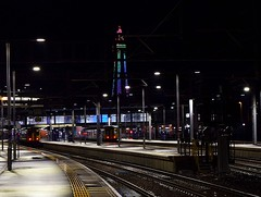 UK railway station with a night-time view_Blackpool North_031118_01 (DS 90008) Tags: blackpooltower blackpoolnorth railway uk trains seaside