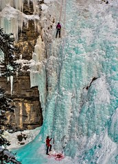 Ice climb (Pbreezer) Tags: ice falls frozen nature climb outdoor outdoorphotography travelalberta naturephotography banff nationalparkcanada johnsonscanyon blueice trees mountains winter snow natures