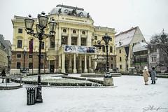 Slovak Theatre Building (danstephen17) Tags: slovakia architecture theatre history building snow winter sky light people bratislava europe