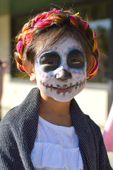 A young skeleton (radargeek) Tags: dayofthedead 2018 october plazadistrict okc oklahomacity facepaint catrina kid child portrait skeleton