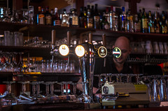 The end of the month (Rense Haveman) Tags: fsulens helios44m lenzen pentaxk5 pentaxforumscom rensehaveman singleinfebruary2019 sovietlens manualfocus bar beer draft café menatwork ambientlight bottles glasses tap