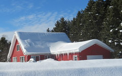 Red house in snow (yooperann) Tags: snow drifts roof covered chatham alger county upper peninsula michigan winter sunny day