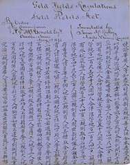 Translation of goldfields regulations into Chinese by James McHenley, 1873 (Queensland State Archives) Tags: gold goldfields mining queensland mchenley 1873 1900 1098201 history historical archives queenlsand migration chinese calligraphy chinesecalligraphy 1870s historicaldocument goldmining prospecting