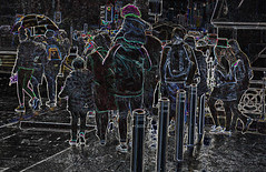 St Patrick's Day rain (conall..) Tags: sliderssunday nikon afs nikkor f18g lens 50mm prime primelens nikonafsnikkorf18g st patrick's day parade belfast 2019 citycentre belfaststpats manipulated manipulatedimage photoshop elements 15 messing abstract weird glowing edges crowd leaving aftertheparade goinghome