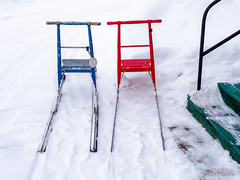 Seasonal means of transport (Ulrich Neitzel) Tags: colourful kicksled lapland lappland mzuiko1250mm olympusem5 schnee schweden sled snow sparkstötting sweden tretschlitten vittangi winter