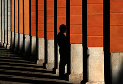 Shadow Man (HWHawerkamp) Tags: street shadow pillar architecture mallorca spain pattern columns colours people travel graphics abstract