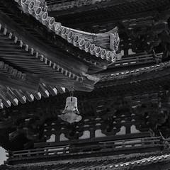 Intersecting roof lines (Tim Ravenscroft) Tags: roof tiles pagoda hall kofukuji temple buddhist nara architecture japan hasselblad hasselbladx1d monochrome blackandwhite blackwhite