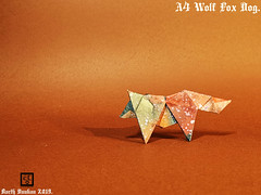 A4 Wolf Fox Dog - Barth Dunkan. (Magic Fingaz) Tags: barthdunkan dog fox origami origamichien origamidog origamifox origamiloup origamirenard origamiwolf paperart paperfoolding wolf