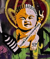 RIP, London, UK (Robby Virus) Tags: london england uk unitedkingdom greatbritain britain gb english british buddha budda peace comes from within rip artist street art stencil graffiti