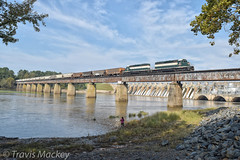 ACWR 300 crossing over the Pee Dee River (Travis Mackey Photography) Tags: acwr 300 hydro dam pee dee river norwood nc sd403 train railroad locomotive trees grass sky rocks
