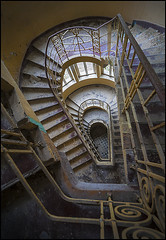 the stairs going down (biancavanderwerf) Tags: urbex urbanexploration forgotten old decay stairs rumble iron light dark dust germany shapes lines bianca