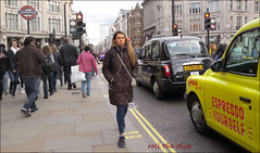 `2556 (roll the dice) Tags: london westminster westend w1 streetphotography pretty sexy girls mad fun funny happy smile reaction people fashion shops shopping urban unaware unknown england uk classic art portrait strangers candid angle view canon tourism tourists colour lights weather sunny dark roundel oxfordstreet traffic taxi advertising angry surreal crowd busy alone tube kahlúa coffeeliqueur yellow logo sad music earphones