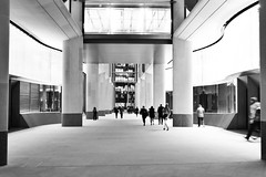Dark Future (Douguerreotype) Tags: london monochrome people uk blackandwhite british buildings street mono architecture city bank britain night gb bw urban england