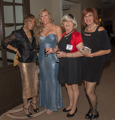 Four Glamorous Gals! (kaceycd) Tags: crossdress tg tgirl lycra spandex wetlook metallic gown dress sheer seethrough seethru jacket pantyhose platino cleancut 15denier pumps peeptoepumps opentoepumps anklestrappumps tstrappumps highheels stilettopumps platformpumps stilettoheels sexypumps stilettos s