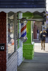 Barber Pole - Baltimore (crabsandbeer (Kevin Moore)) Tags: baltimore city march people street urban barber barberplot things bokeh colorful stripes