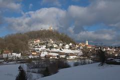 Beautiful View (Teresa (be there...)) Tags: winter snow castle hill village view landscape way clouds sunnyday nikon d90 church creek landschaft dorf ort hügel berg burg bäume schnee wolken himmel sky
