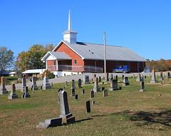 Bethel Church and Cemetery - Northwestern Orange County, Indiana (danjdavis) Tags: bethelchurch indiana church countrychurch ruralchurch orangecounty gravestones tombstones cemetery bethelcemetery