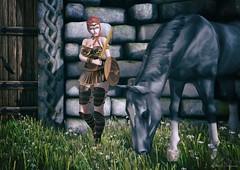 Warrior ⚔ (ღ Sɑrɑɑh Drɑgoone ღ) Tags: horse girl warrior secondlife game pic woman sexy photo bentoav catwa maitreya rock shield volthair ginger green cute flower outfit shop
