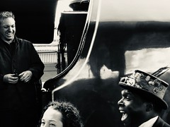 Yakety Sax (sjpowermac) Tags: yaketysax comedy joke oneliner happy smiles coal duchessofsutherland driver steampunk steampowered laughter timing hat inventions sciencefiction 6233 duchess steam 1z35 theyorkshireman candid