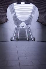 Arnhem CS platform entrance (Dannis van der Heiden) Tags: d750 netherlands architecture building interior station train arnhem stairs escalator ceiling floor atmosphere tokina1628mmf28 trainstation arnhemcs modern ns benvanberkel
