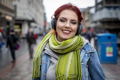Stranger 70/100 'Adrianna' (Leanne Boulton) Tags: portrait people urban street portraiture streetphotography streetportrait streetlife 100strangers stranger woman female girl face eyes expression mood emotion feeling smile smiling happy happiness joy colourful redhead winter weather scarf rain raining headphones tone texture detail depthoffield bokeh naturallight outdoor light shade city scene human life living humanity society culture lifestyle canon canon5dmkiii 70mm ef2470mmf28liiusm color colour glasgow scotland uk