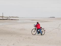 Sammlerin (Peter Glaab) Tags: 45mm f18 landschaft meer nationalparkwattenmeer nordsee olympus stpeterording himmel frau fahrrad rot sand strand horizont dünen pfahlbau zuiko