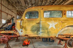 Waiting for Repair (KPortin) Tags: building interior vehicle star vintage