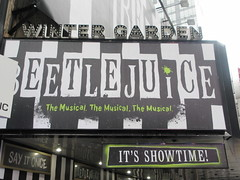 Beetlejuice The Musical Winter Garden Theater Marquee 4378 (Brechtbug) Tags: beetlejuice the musical winter garden theater marquee display 2019 nyc broadway 7th ave 51st street ben cooper halco collegeville monster creature graveyard ghoul dead guy moss hair green stripes fashion mutants villains tim burton film movie 1988 80s 1980s figure hell purgatory beatle beetle juice ghost with most michael keaton possession exorcist betelgeuse exorcism haunt