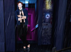 Raining... (Thi ;)) Tags: man boy guy catwa signature gianni sexy outfit shoes tie shirt pants rain blue raining night party fun daniel backdropcove outside bar club water art
