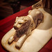Closeup of one of two lions decorating an ivory headrest 18th dynasty New Kingdom Egypt