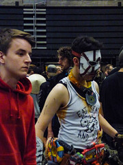 Eat Skag and Die (Steve Taylor (Photography)) Tags: student colourful scary man newzealand nz southisland canterbury christchurch addington armageddonexpo armaggedon eatskaganddie mask vest armpits