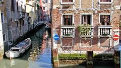 Kanalkreuzung mit Verkehrsschilder (Sanseira) Tags: italy italien venice venedig kanal kreuzung schilder verkehrsschilder häuser fassade