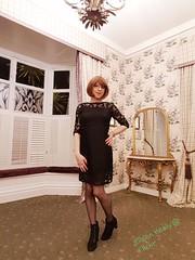Ladies room (eileen_cd) Tags: lbd brownbob highheels lacetopstockings ladiesroom standing crossdresser transvestite cd tv