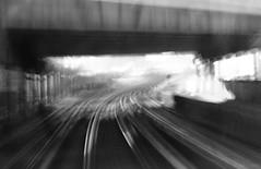 journey (amazingstoker) Tags: train docklands railway journey icm monochrome white rail blur black london dlr dream bridge a1011 canning town points switch