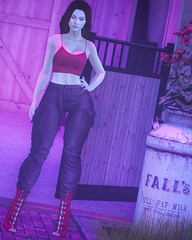 ✫319✫ (RoxxyLoves) Tags: mna tank top spaghetti string villena high rise joggers boots heels reign pants cargo lace stealthic sensual hair scandalize hoop earrings gift freebie deetalez sienna skin freckles genus baby face belleza freya body mesh