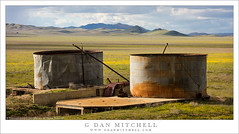 Water Tanks, Mountains and Plain (G Dan Mitchell) Tags: spring season wildflowers yellow clouds rain two abandoned water tanks structures carrizo plain national monument shadows landscape nature corrugated metal california usa north america mountains
