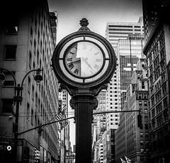 5th Ave Clock, NYC (broadswordcallingdannyboy) Tags: red mono bw city manhattan nyc ny newyork eos7d leonreillyphotography leonreilly copyright donotcopy mood atmosphere newyorkcity usa eastcoast americafuckyeah america bwcity light newyorkminute newyorkstateofmind newyorkmono nycinbw efs24mmf28stm
