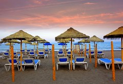 on the beach (majka44) Tags: spanielsko spain beach sea sunset sky 2014 umbrella blue atmosphere travel nice sand andalusia may