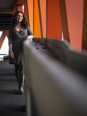 Laura, Rotterdam 2019: Depth (mdiepraam) Tags: laura rotterdam 2019 portrait pretty attractive beautiful elegant classy gorgeous dutch brunette girl woman lady naturalglamour curls coat scarf boots stockings tights nylons
