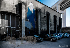 Travel agency (ericbaygon) Tags: car travel voyage graffiti art valise luggage bagage lisbon lisboa lisbonne portugal d750 nikon bleu blue wall aigle eagle