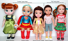 Toddler & Kid sized dolls comparison chart (RequiemArt.com) Tags: disney animator animators collection doll dc super hero girl dcshg belle princess toddler hearts 4 for wellie wisher wishers comparison photo chart size sizes