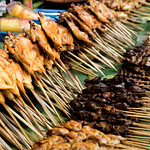 Chicken barbeque on display at a local food park thumbnail