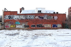 Wild style graffiti and snowy vacant lot, Parkchester, Bronx (Eating In Translation) Tags: bronx parkchester