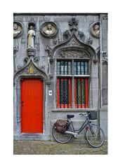 Bruges #14 (andy wisnoski) Tags: oldbuilding bruges architecture 14 bike door window belgium europe cobblestone