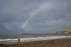 Walking at the End of the Rainbow (marlin harms) Tags: rainbow cayucos cayucospier cayucosbeach red